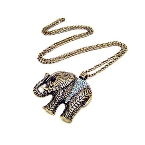 TOOGOO Collar Largo Bronce Colgante de Elefante con Cristal Transparente Estilo Antiguo