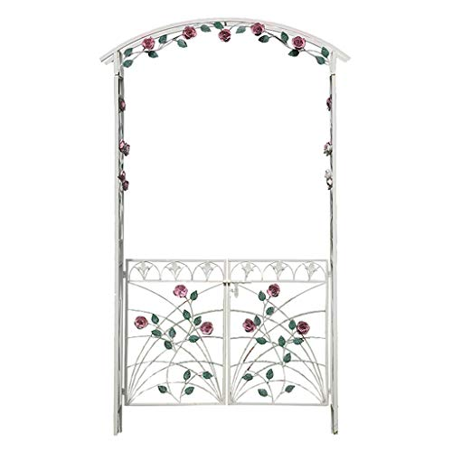 Rose Arch, 128 X 41 X 217 Cm, Gate Made of Powder-Coated Iron, with Door, Leaf Pattern, Climbing Plant Support, Garden Arch, White