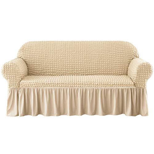 CHUN YI - Funda de sofá Extensible con reposabrazos, de poliéster, 1 Pieza, Funda para sillón, Protector de sofá Completo, Tejido Suave con Falda, decoración de salón, Crema, 3 plazas