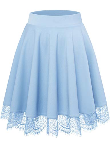 Bbonlinedress Sommerrock Rock Röcke Skirt im Sommer Damen Mädchen Basic Solide Vielseitige Dehnbar Mini Rock A-Linie Rockabilly Light Blue 2XL