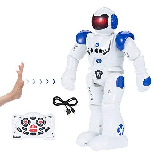 Robot de Juguete - Inteligente Programable RC Robot, Educativo Recargable Robot, Gestos Control Robot con Múltiples Funciones de Canto Baile y Aprendizaje, Regalo Ideal para Niños (Azul)