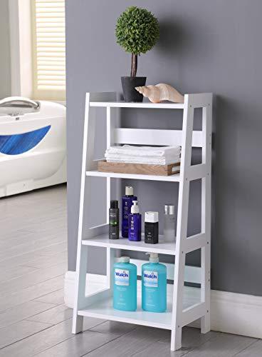 TMEE® Estantería de madera blanca con 4 niveles de almacenamiento, estante de baño de pie, estante de exhibición de estantería, color blanco