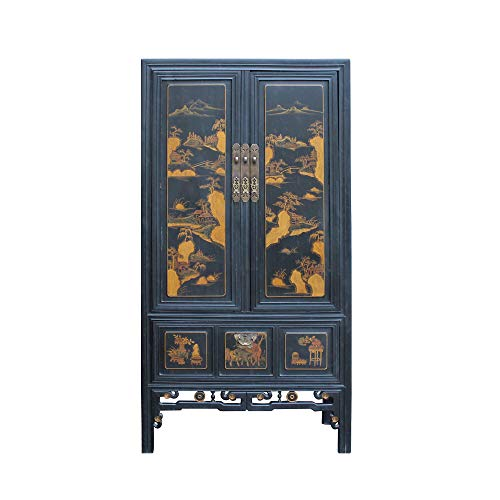 Buy Chinese Black Fujian Golden Mountain Water Graphic Tall Armoire Cabinet Acs4891