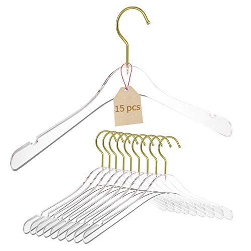 YEBIAO 15 Pack Acrylic Hangers Clear and Gold Hangers Premium Quality Clear Acrylic Clothes Hangers Clothing Standard Hangers