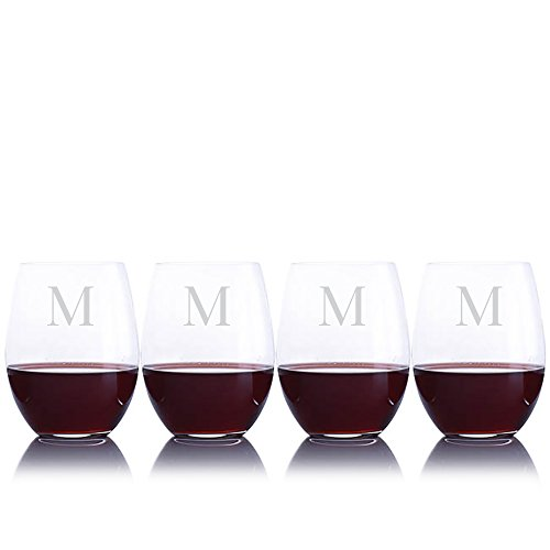 Personalized Riedel O Cabernet/Merlot Stemless Red Wine Glasses Engraved & Monogrammed - Perfect for Valentine's Day, Engagement or Wedding Gift