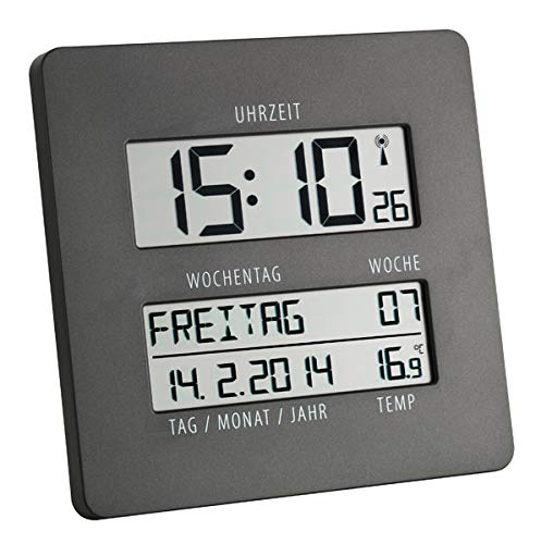 TFA Dostmann 60.4509 Time Line Funk-Wanduhr mit Temperatur und Wochentagsanzeige (grau)