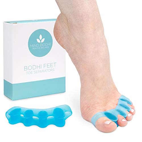 Mind Bodhi Toe Separators to Correct Bunions and Restore Toes to Their Original Shape (Bunion Corrector Toe Spacers Toe Straightener Toe Stretcher Big Toe Correctors) Universal Size (Blue)