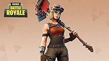 Iconic Arts Laminated 42x24 Poster  Renegade Raider Holding Pickaxe in Brown Background Battle Royale hd Games HD