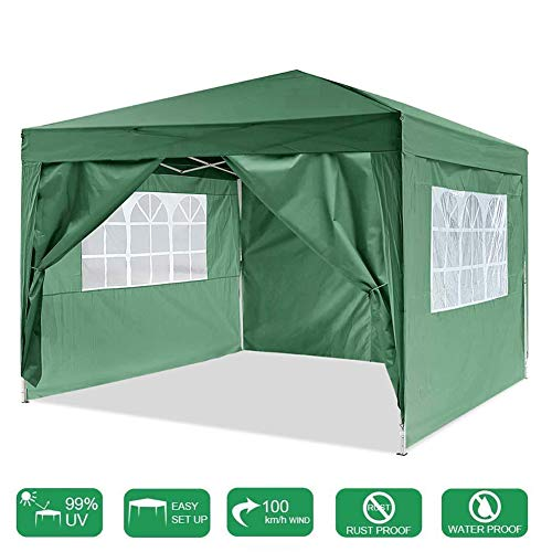 LYXCM Gazebo, Waterproof Pop-up Event Shelter 3 X 3m (9.8ft X 9.8ft) Garden Gazebo Tent with 4 Side Walls Outdoor Event Shelter for Garden Wedding Parties Four Seasons Pavilion