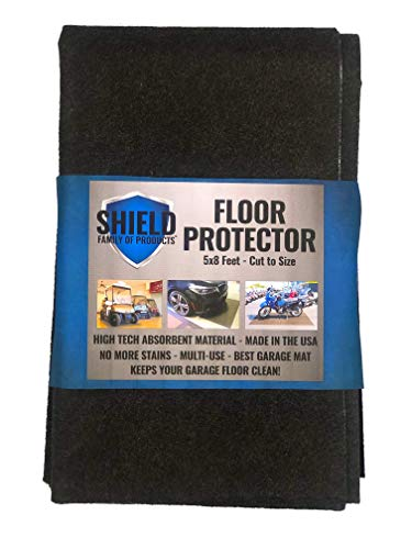 Shield Family Floor Protector - Premium Absorbent Oil Mat – Reusable/Durable/Waterproof – Protects Garage Floor Surface – Garage Shop Mat – Floor Mat for Golf Carts, ATV's, Motorcycles - 5ftx8ft