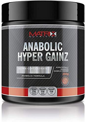 Matrix Nutrition Anabolic Hyper Gainz Powder 250g - Amino Acid - Testosterone Booster (Blue Raspberry)