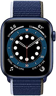 Apple Watch Series 6 - 44mm, GPS, Blue Aluminum Case with Abyss Sport Loop, M02G3LL/A