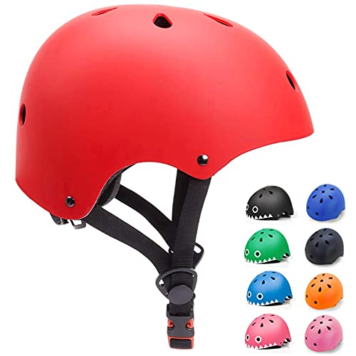 KORIMEFA Casco Bicicleta para Niños Casco Infantil Ajustable para Monopatín Patinaje BMX Esquiar, Casco para multibles Deportes niño niña de Edad de 3-13 años (Rojo, Medium)