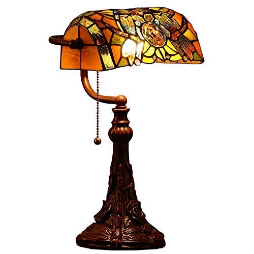 Bieye L30308 17 pouces Libellule Lampe de table banquier en verre teinté de Tiffany style