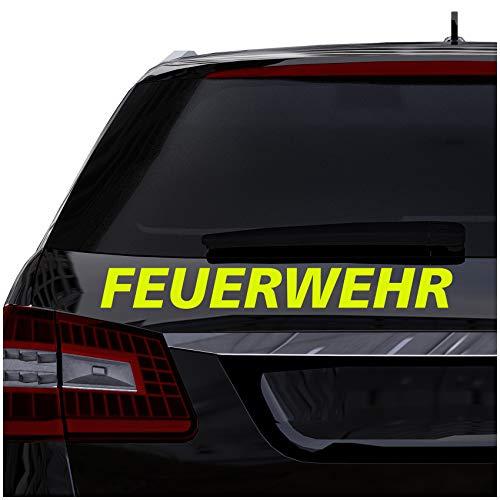Finest Folia Autoaufkleber Feuerwehr Aufkleber für Auto Motorrad Boot Bus Kfz Zubehör Sticker Selbstklebend Löschen Bergen (Neongelb, 40cm kurzes F KX061)