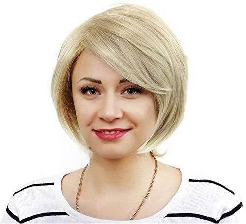 L&B-MR Pelucas Ráfagas de Europa y América Oblique Light Gold Wig Short Straight Pein Fashion Bobo Head Cosplay Wig