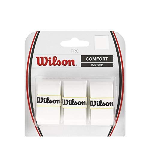 Wilson Pro Overgrip - Juego de 3 grips para raqueta de tenis blanco