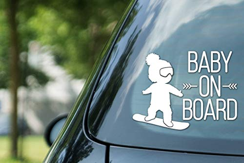 CELYCASY Baby on Board, Boy on Snowboard, Vinyl auf Papier, Auto-Aufkleber, Kid on Board, Snowboarden