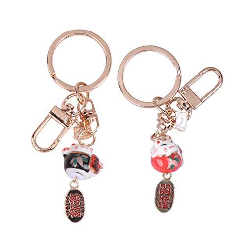 PRETYZOOM 2 Stück hängende Katze Schlüsselanhänger japanische Lucky Maneki Schlüsselanhänger Paar Kätzchen Schlüsselanhänger Feng Shui Reichtum Schlüsselanhänger für Tasche Geldbörse