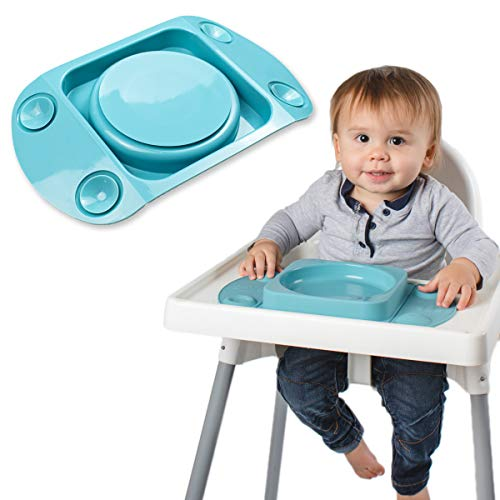 Baby Weaning Suction Plate - EasyMat MiniMax, Strongest 5-Point Suction Feeding Mat with Lid and Carry Case for High Chair Feeding and Travel, The Baby Weaning Set for Stay Put Meals (Teal)