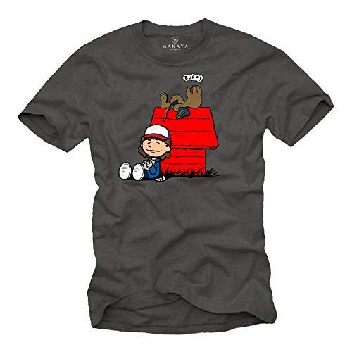 MAKAYA Stranger T-Shirt Uomo - Dart Demogorgon Demodog - Maglietta Dustin Nougat Things Raggazo Bambino Reaglo Grigio Taglia L