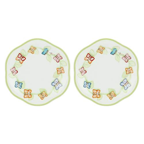 THUN - Set Piatti da 2 per Biscotti, Torte, Dessert e Buffet, con Decorazione di Farfalle - Accessori Cucina - Linea Farfalle in Festa - Porcellana - Ø 23 cm