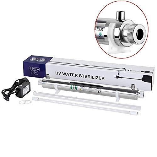 GXHGRASS 12W UV-licht waterfilter hele huis UV-filter sterilisator waterfilter, 1GPM (0,2 T/H), vrouwelijk, 1/4 inch met veiligheidsalarm voor ballast