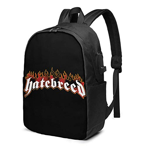 Hatebreed Comfortable and Durable Waterproof Laptop Backpack Travel Backpack with USB Charging Port 17 Inches, Suitable for Men and Women