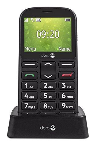 Doro 1360 Telefono Cellulare 2G Dual SIM per Anziani con Fotocamera, Pulsante d Emergenza e Base per Ricarica [Versione Italiana] (Nero)