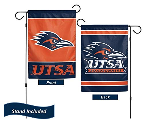 "UTSA Roadrunners Garden Flag Set with Stand, Printed in The USA, 12.5"" x 18"" College Flag with Three Piece Steel Yard Flag Stand Holder"