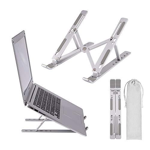 Viitech Laptopstativ i aluminiumlegering, hopfällbart ergonomiskt laptopstativ, med bärväska, justerbar lyftplatta för bärbara datorer