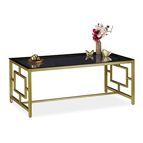 relaxdays Tavolino da Divano, Superficie Nera in Vetro, Struttura in Metallo, da Salotto, 42x100x50 cm, Dorato, Nero/Oro