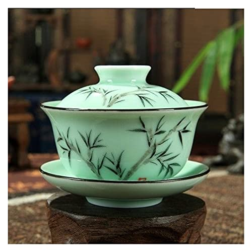 YUANLIN Tazas de Porcelana Longquan Gaiwan, gaiwan, Taza de té de Porcelana Pintada a Mano, Taza de té de Pintura a Mano 170 ml Tazas de Porcelana Cafe (Color : Bamboo)