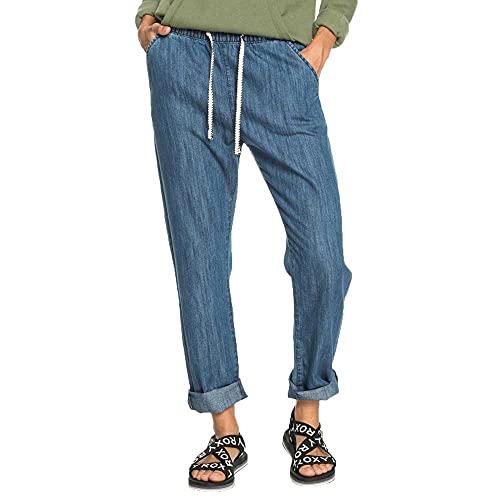 Roxy Vaquero de Corte Relajado para Mujer Jeans, Medium Blue, L