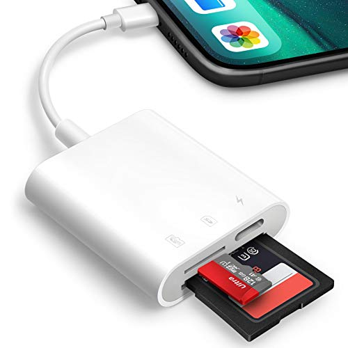 SD Card Reader for iPhone iPad,Oyuiasle Trail Game Camera SD Card Reader Viewer,Memory Card Reader Adapter with SD & MicroSD Card Slots,Plug and Play