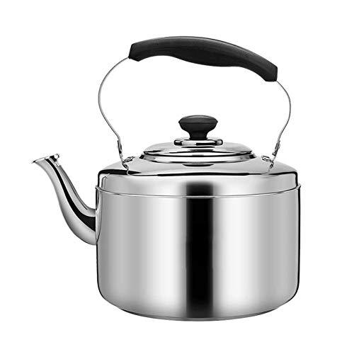 heat Hervidor de té silbante de gran diámetro, mango ergonómico, hervidor de acero inoxidable (tamaño: 6 L)