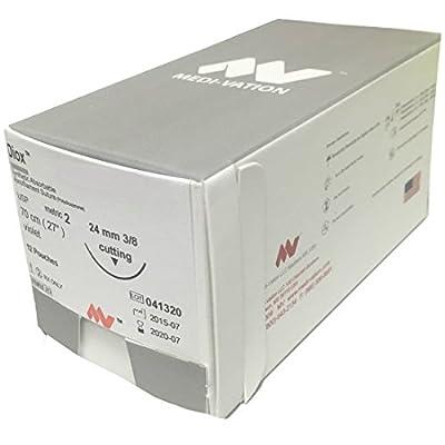 "12 pcs Diox 75cm PDS Animal Suture Wound Care Needle Thread (PDS, 3/8"" Circle 24mm Rev Cut, 2-0, Violet, 1, MVZ443H)"
