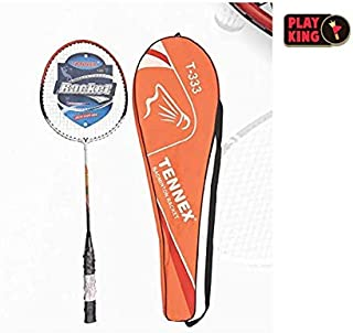 Playking Tennex Badminton Rackets Set of 2 Pcs with Cover T-111, Color May Vary