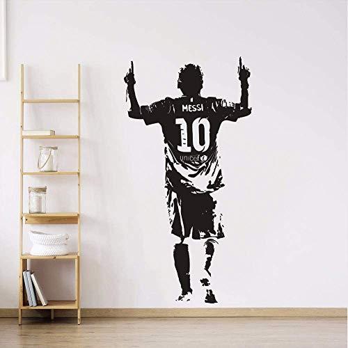 Vinyl Wandaufkleber Fußballspieler Wandtattoo Messi Fußball Fußball Star Wallpaper Abnehmbare Vinyl Messi Wandbilder 57 * 110Cm