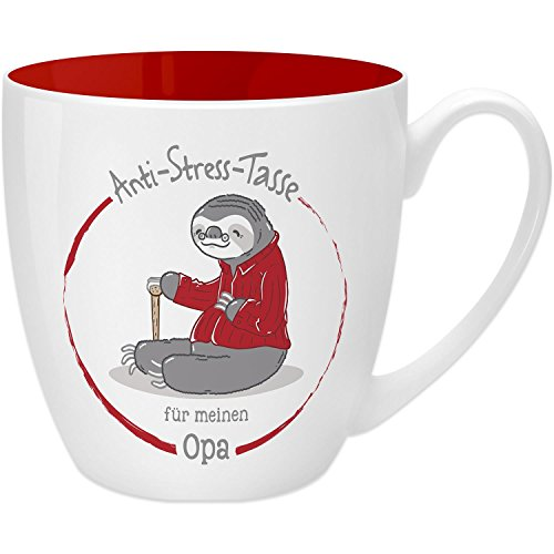Gruss & Co 45506 Anti-Stress Tasse für Opa, 45 cl, Geschenk, New Bone China, Rot, 9.5 cm