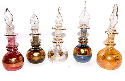 5 Perfumeros egipcios de cristal soplado hechos a mano, Pack