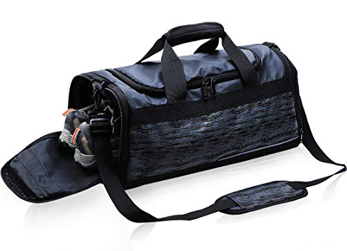 Gym Bags for Men Women Sports Duffel Bag Waterproof Large Duffle Holdalls for Travel Overnight Weekender Workout with Shoe Compartment, Black, 40L
