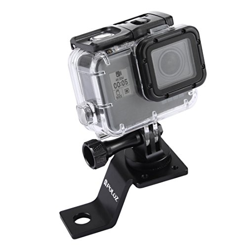 PULUZ Motorcycle Mirror/Pinch Bolt Mount Fixed Metal Bike Holder Mount for GoPro Hero 5 4 Session Black Silver 4 3+ 3 2 Sports Action Camera (Black)