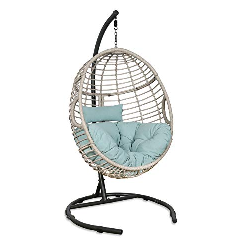 Patio Tree Outdoor Basket Swing Chair Hanging Tear Drop Egg Chair with Stand (Blue)