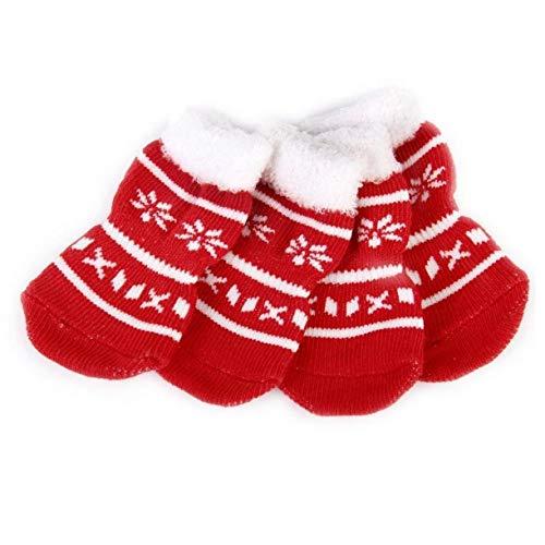 AYRSJCL 4Pcs Schneeflocke-Haustier-Hundewelpen-Katze-Hausschuh Anti-Rutsch-Socken mit Tatzen-Druck 1,4 x 3,5 Zoll
