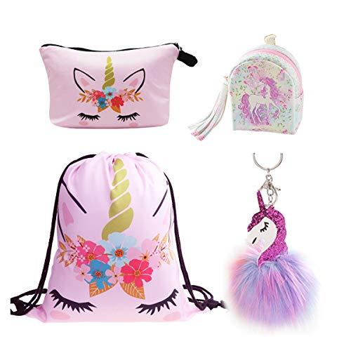 DRESHOW Regalos de Unicornio para Niñas Mochila con cordón/Maquillaje/Colgante Collar/Pulsera Pulsera /...