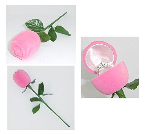 les colis noirs lcn Boite Rose pour Bague - Alliance Ecrin Mariage Fleur Romantique - Rose