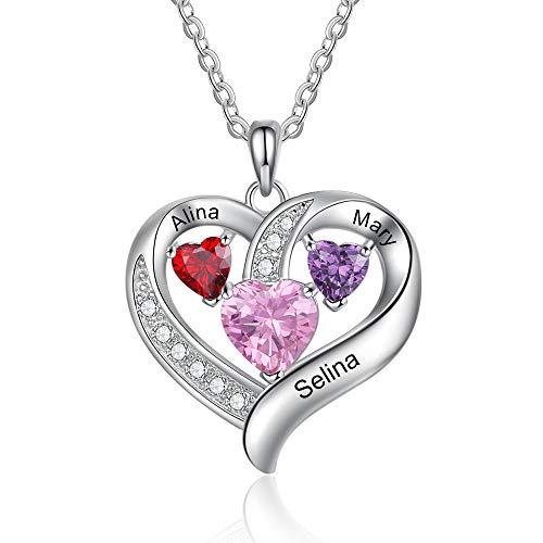 Damen Kette Namen Halskette Damen Personalisiert mit Herz Anhänger Namenskette mit 2/3 Geburtsstein Kette Name 925 Sterling Silber Schmuck Damen (3 Steine 3 Namen)