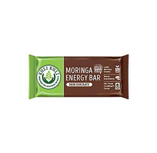Kuli Kuli Moringa SuperFood Energy Bar, Dark Chocolate, 1.6 Ounce Bars (Box of 12) Vegan and Gluten-Free Energy Bar, Contains Half a Cup of Leafy Greens, Chia Seeds, Convenient Snack Bar