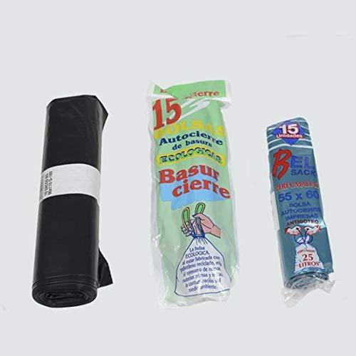 60 rollos de 25 bolsas de basura de color negro 52X60